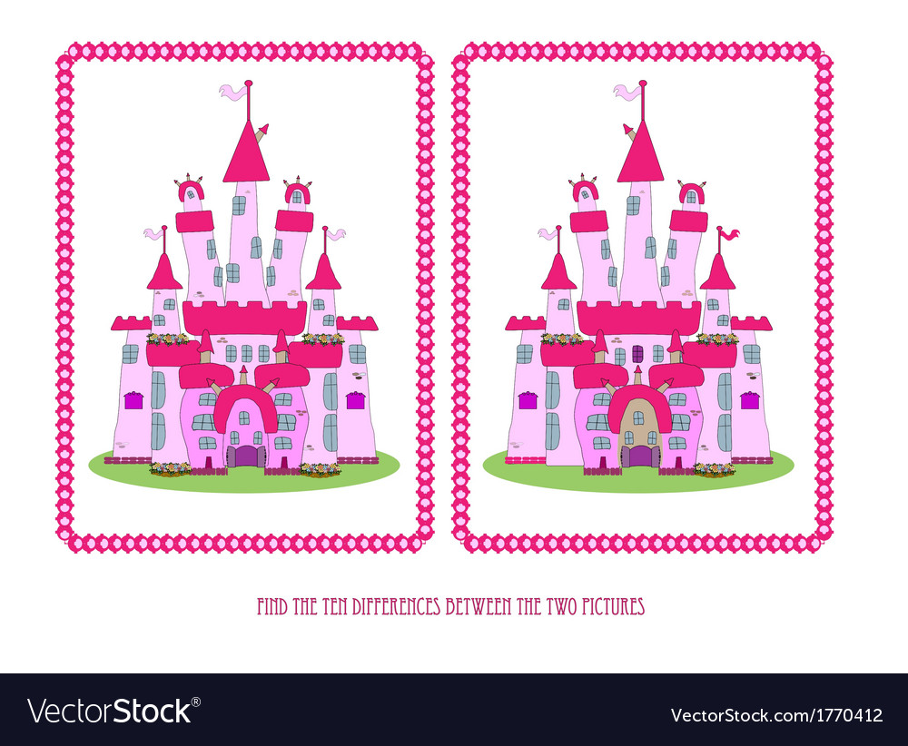Game for children find the ten differences vector | Price: 1 Credit (USD $1)