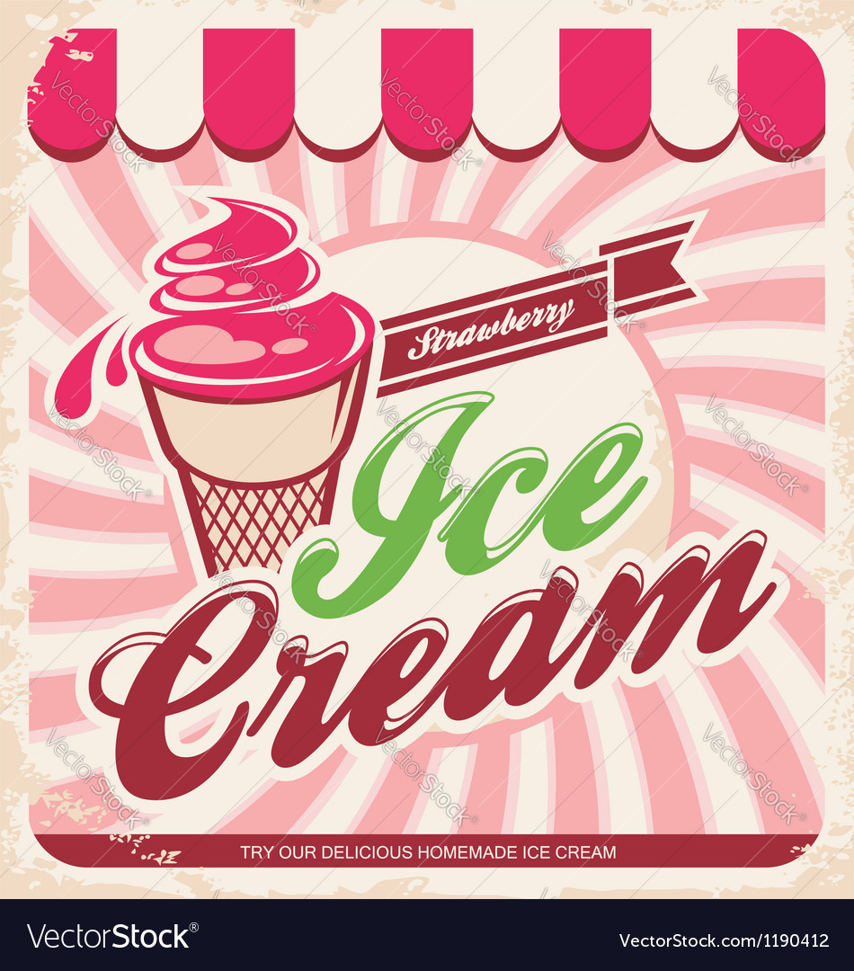 Ice cream retro poster vector | Price: 1 Credit (USD $1)