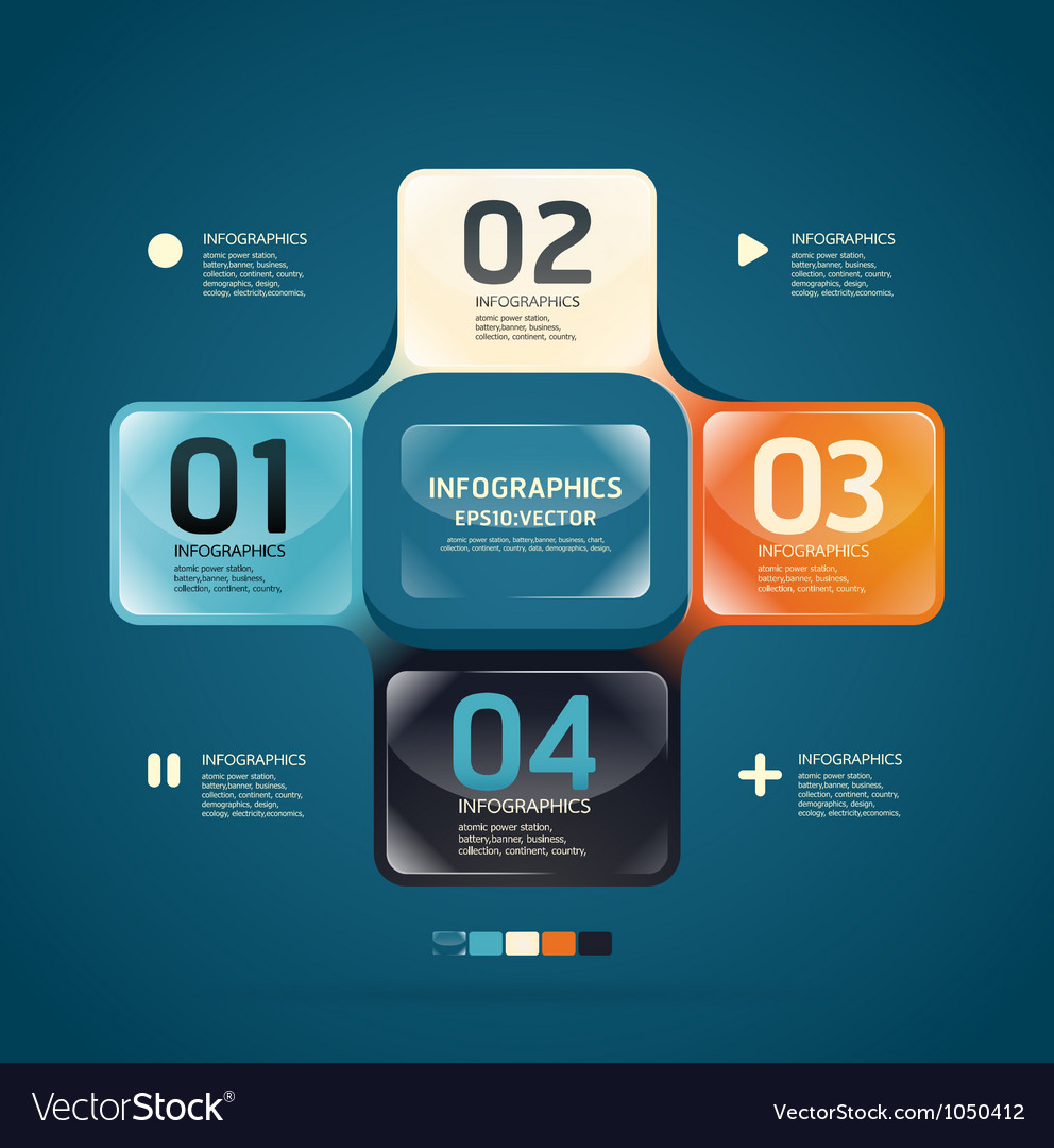 Modern glass color design template vector | Price: 1 Credit (USD $1)