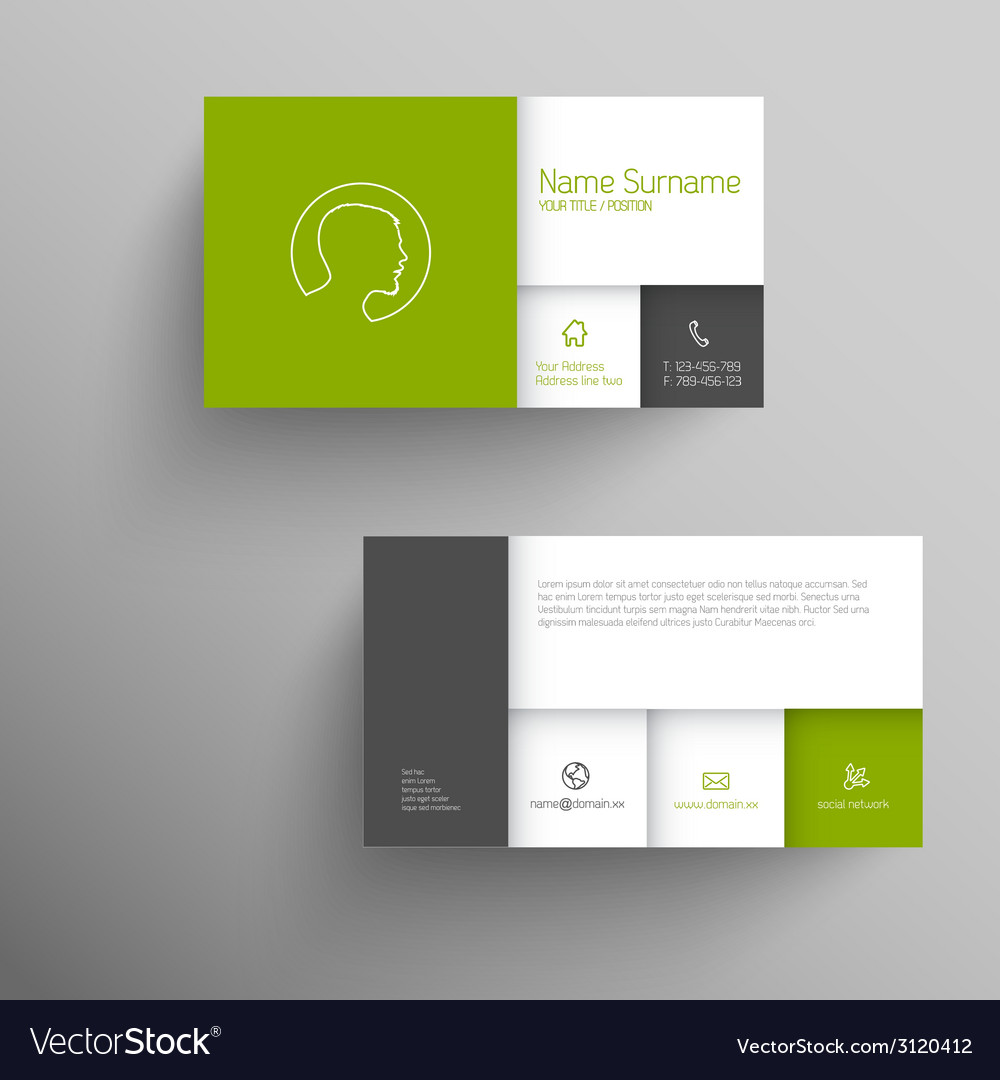 Modern green business card template vector   Price: 1 Credit (USD $1)