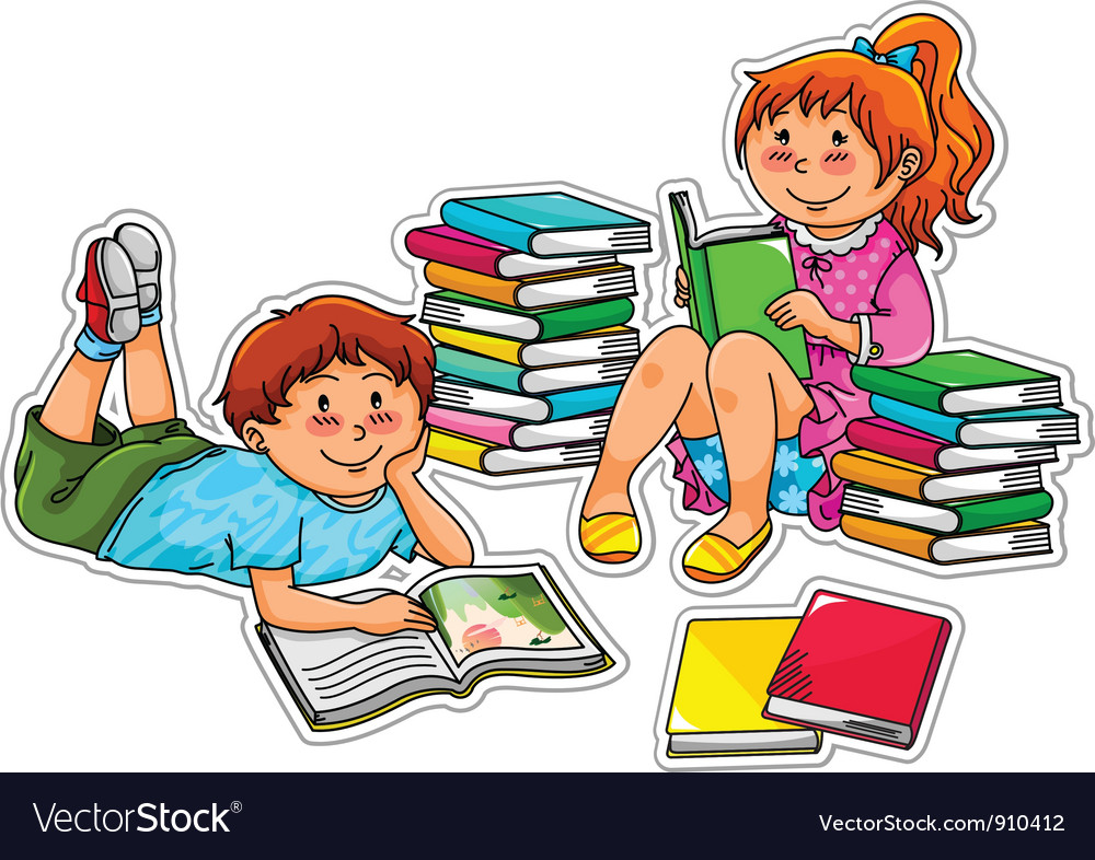 Reading kids vector | Price: 3 Credit (USD $3)