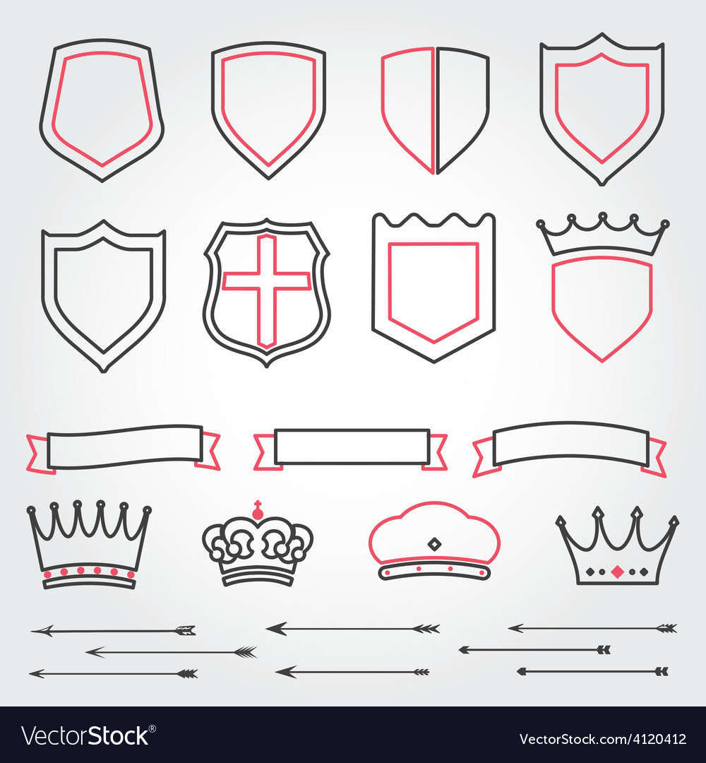 Set line shields heraldic crowns ribbons ar vector | Price: 1 Credit (USD $1)