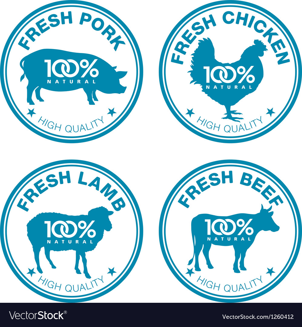 Set of fresh meat labels vector | Price: 1 Credit (USD $1)
