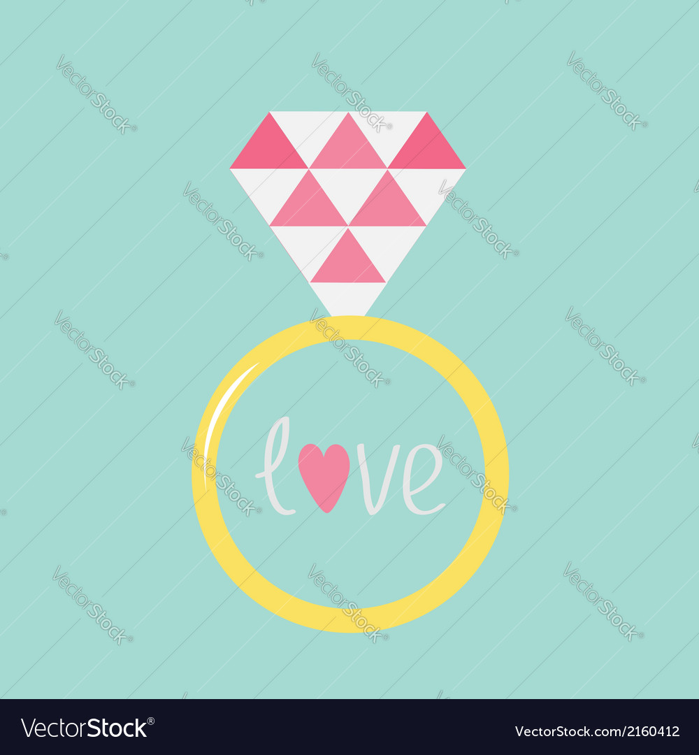 Wedding gold ring with pink diamond and word love vector | Price: 1 Credit (USD $1)