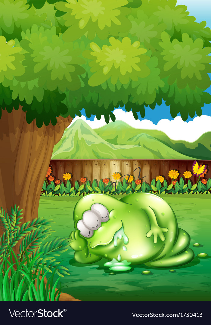 A fat monster sleeping under the tree at the yard vector | Price: 1 Credit (USD $1)
