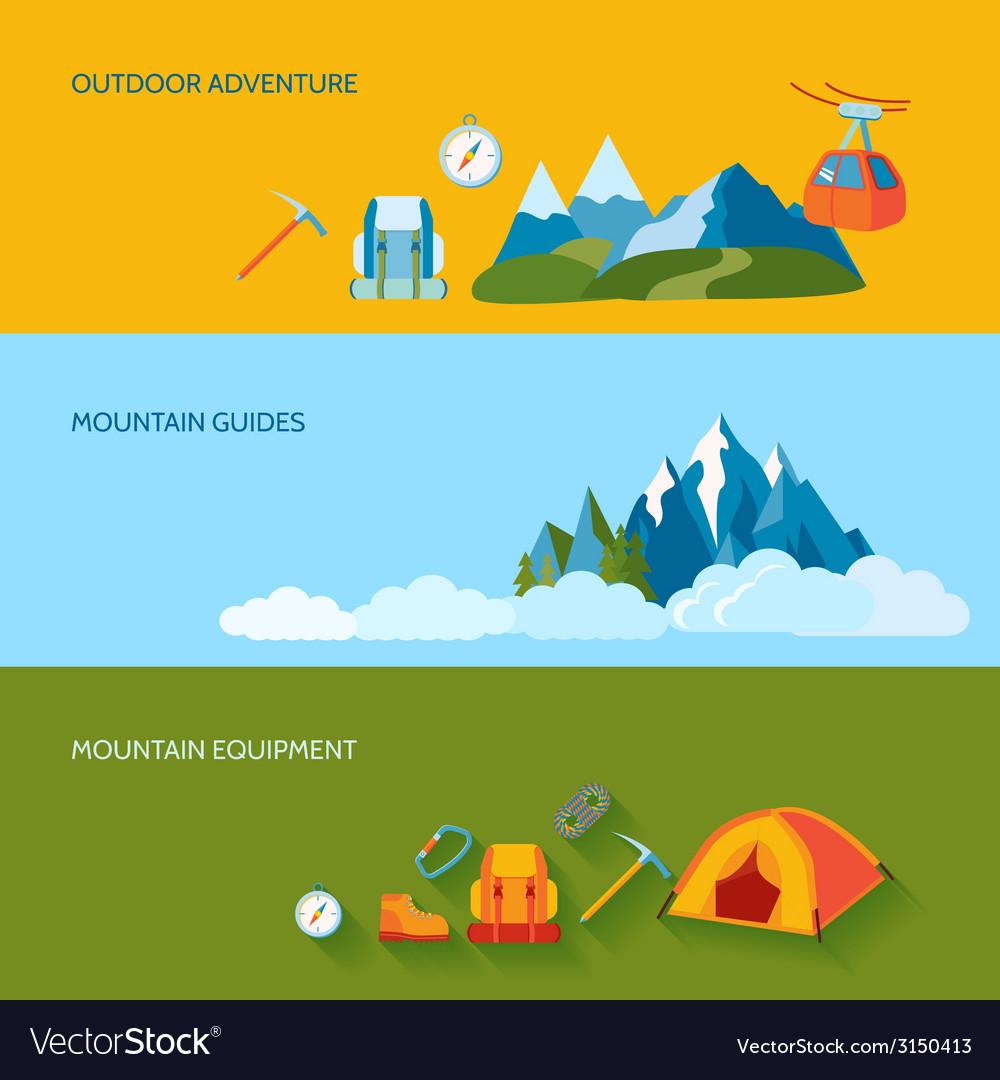 Camping banner set vector | Price: 1 Credit (USD $1)