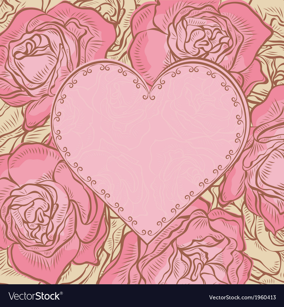 Card with roses and heart frame vector | Price: 1 Credit (USD $1)