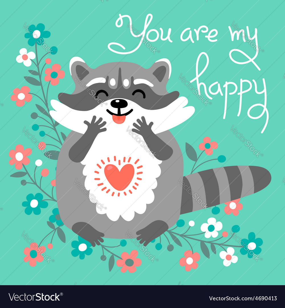 Cute raccoon confesses his love vector | Price: 1 Credit (USD $1)