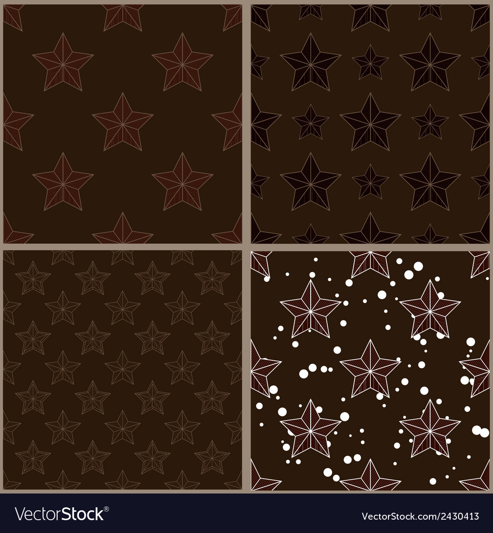 Set of brown star patterns vector | Price: 1 Credit (USD $1)