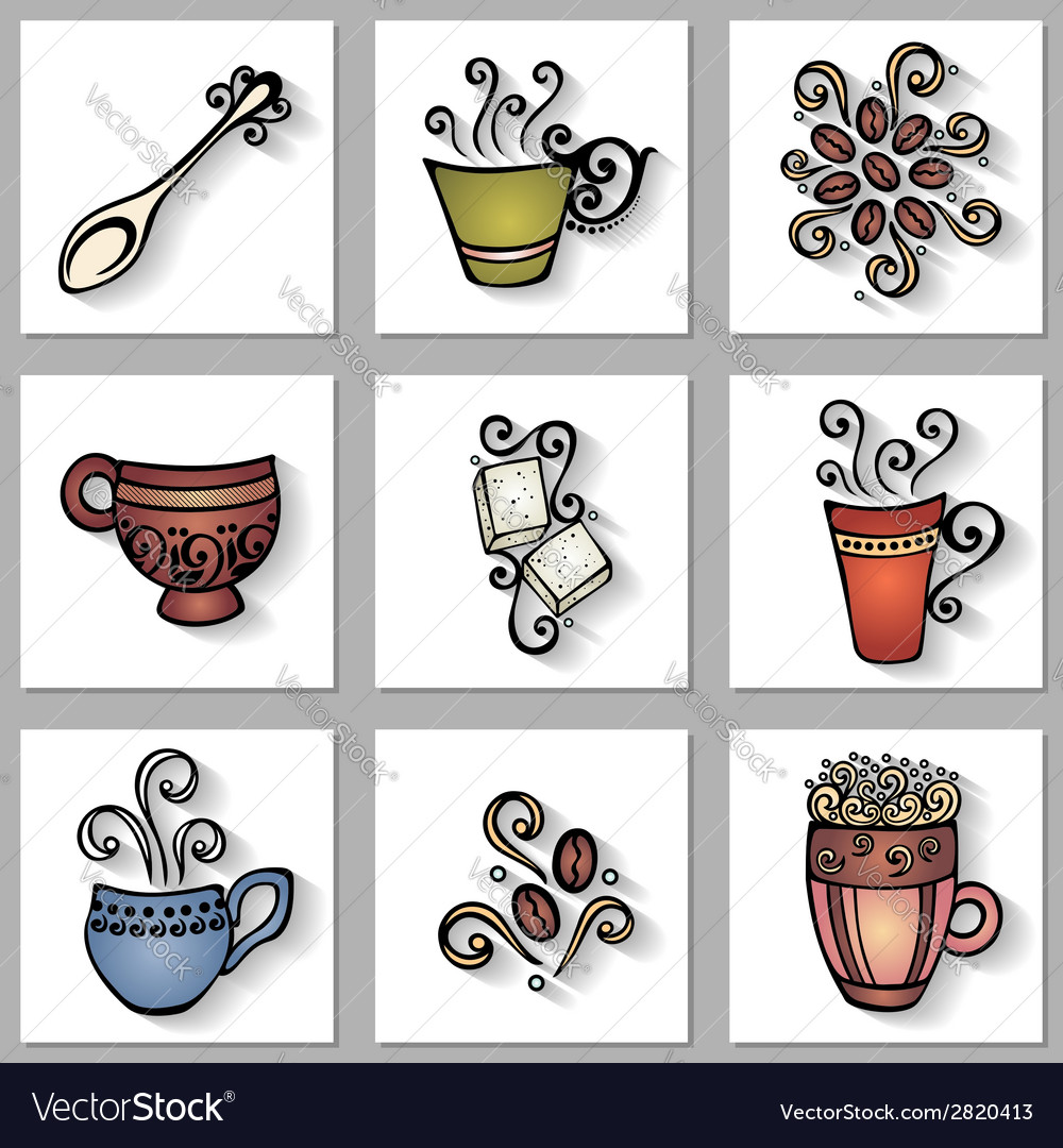 Set of ornamental coffee cups with long shadow vector | Price: 1 Credit (USD $1)