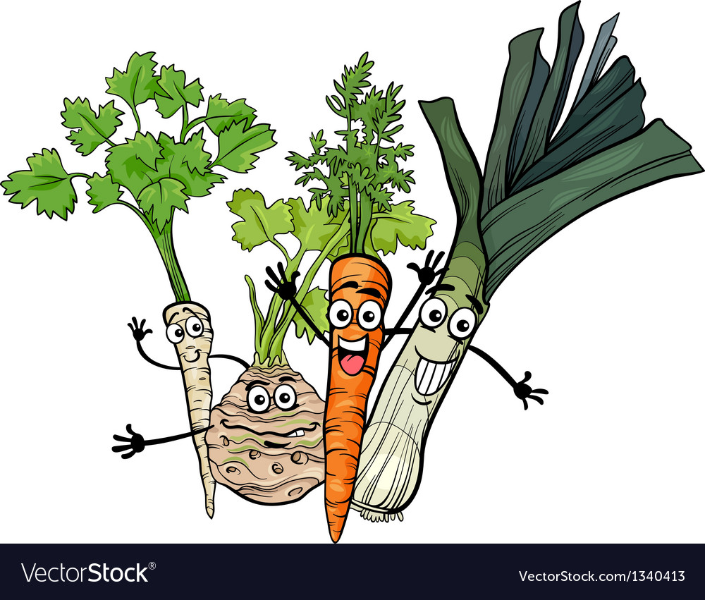 Soup vegetables group cartoon vector | Price: 1 Credit (USD $1)