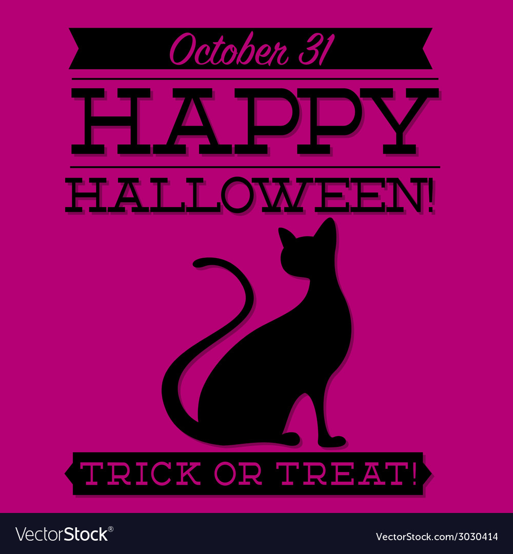 Black cat typographic halloween card in format vector | Price: 1 Credit (USD $1)
