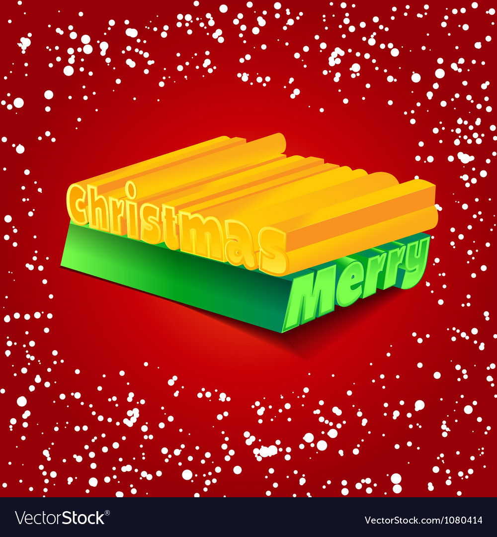 Merry christmas greetings with snow vector   Price: 1 Credit (USD $1)