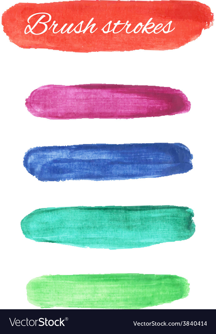 Set of multi colors watercolor brush strokes vector | Price: 1 Credit (USD $1)