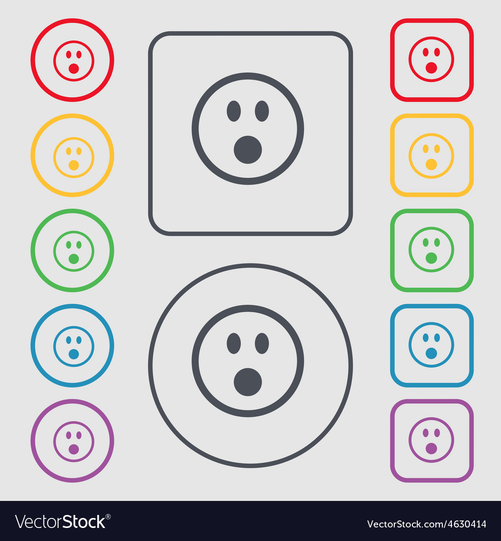 Shocked face smiley icon sign symbol on the round vector | Price: 1 Credit (USD $1)