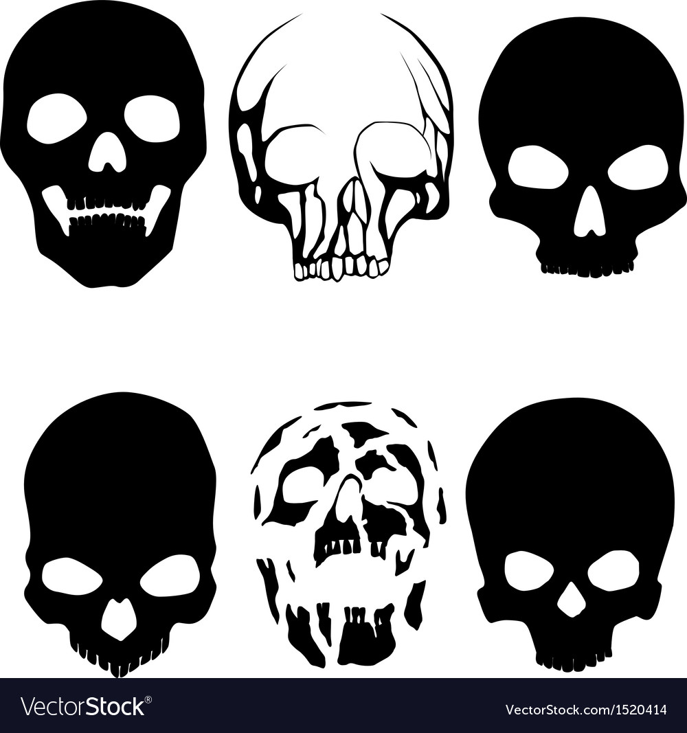 Skull silhouettes vector | Price: 1 Credit (USD $1)