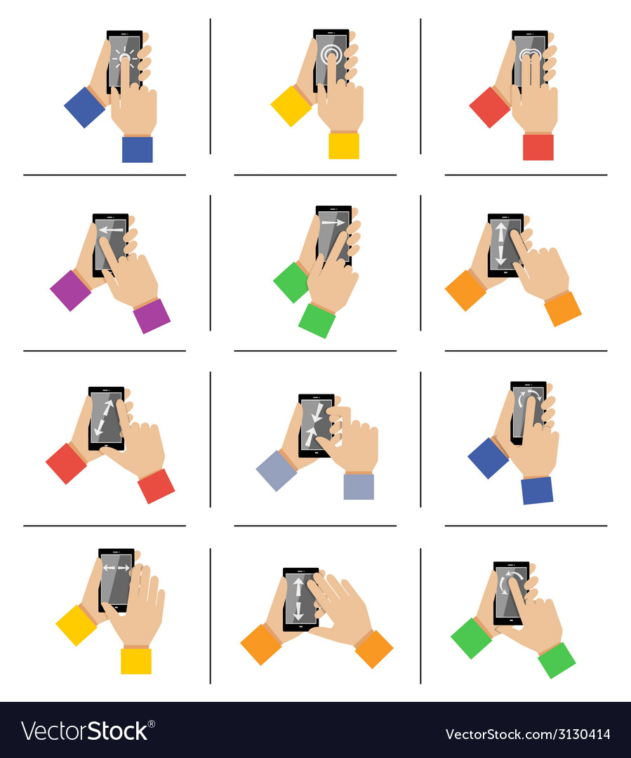 Smartphone touch gestures vector | Price: 1 Credit (USD $1)