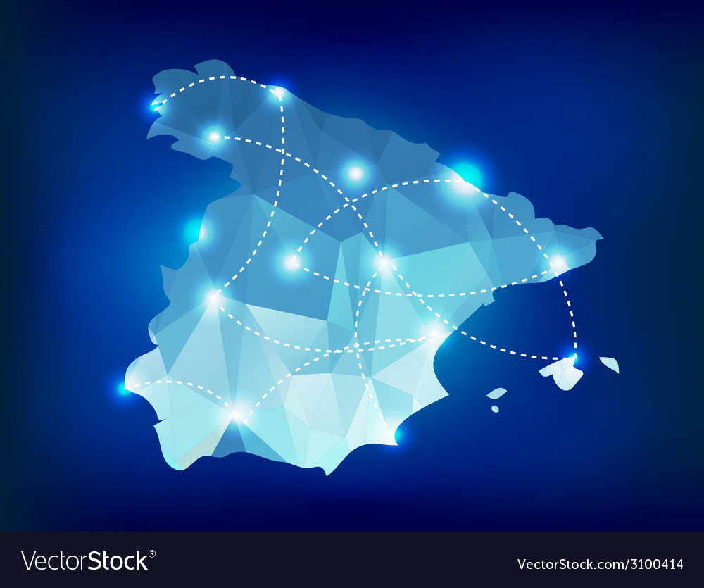 Spain country map polygonal with spot lights vector | Price: 1 Credit (USD $1)