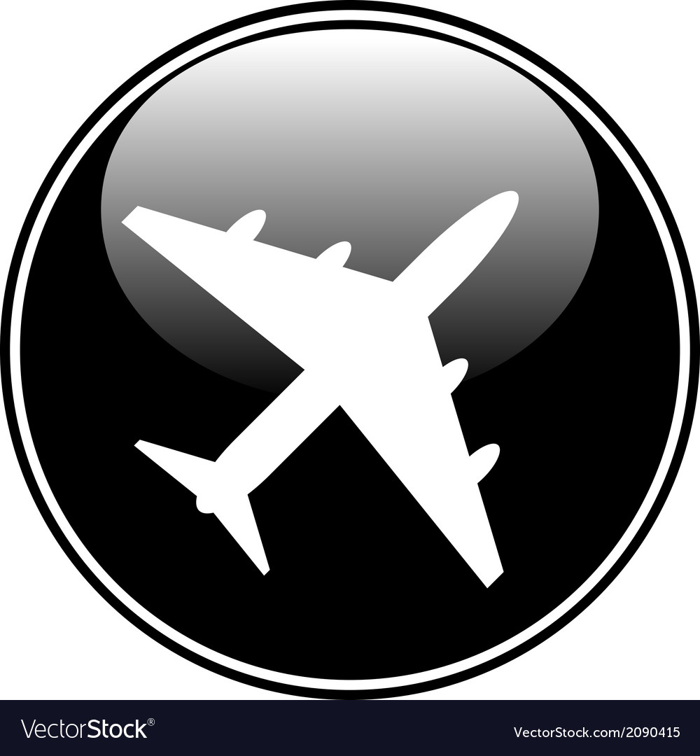 Airplane button vector | Price: 1 Credit (USD $1)