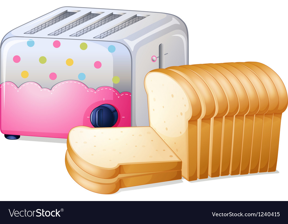 An oven toaster and slices of breads vector | Price: 1 Credit (USD $1)