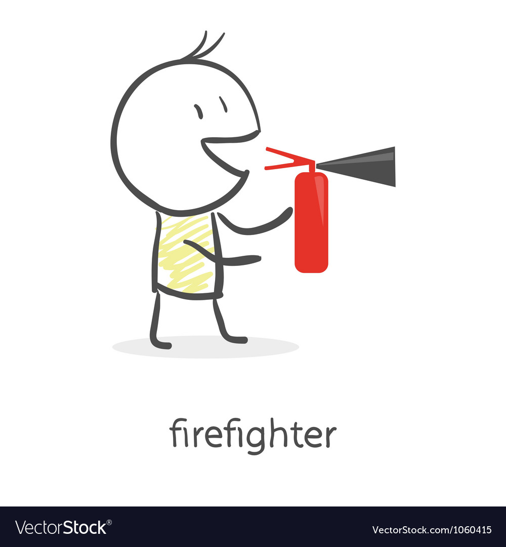 Cartoon man holding a fire extinguisher vector | Price: 1 Credit (USD $1)