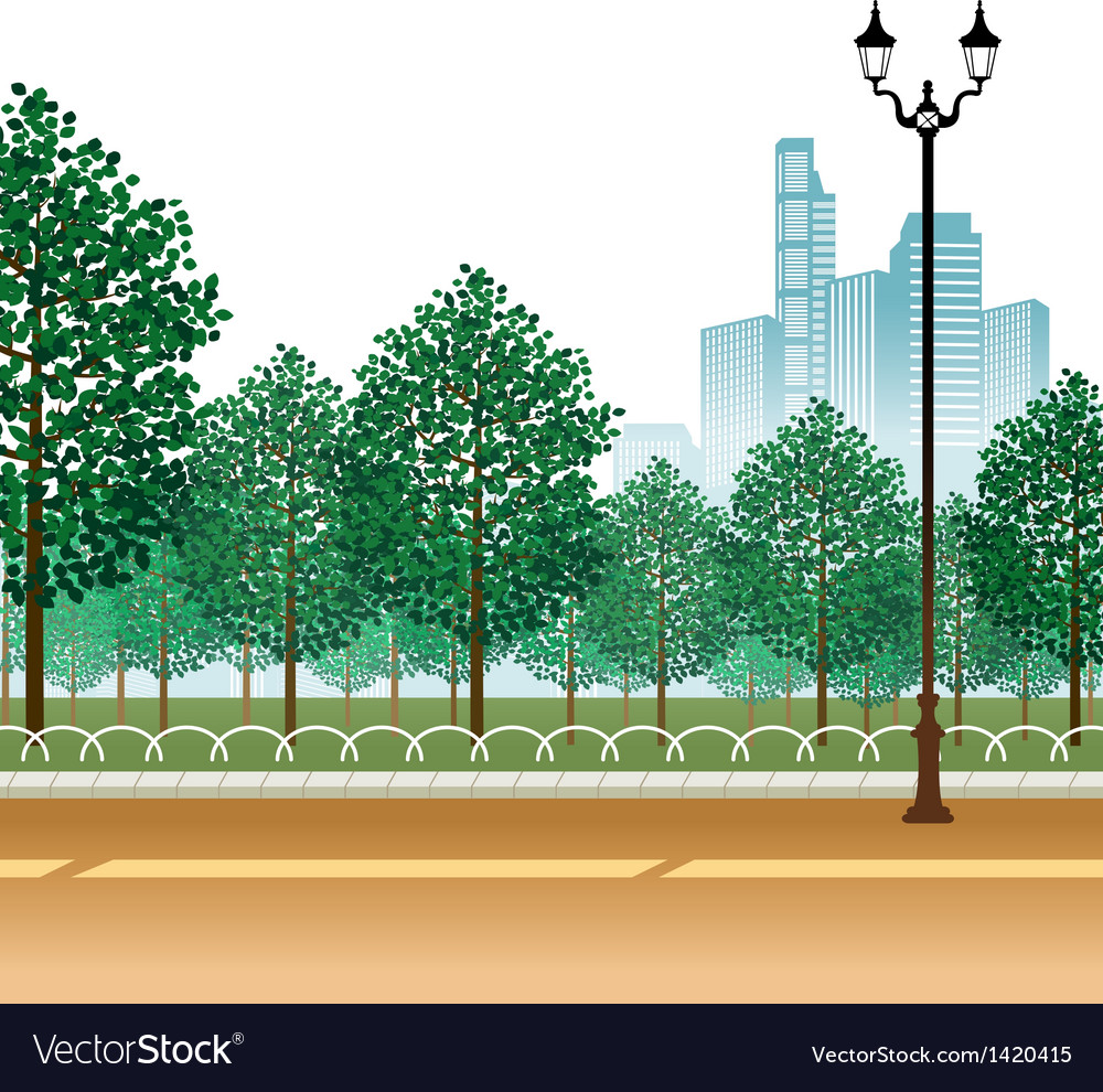 City park path scene vector | Price: 1 Credit (USD $1)