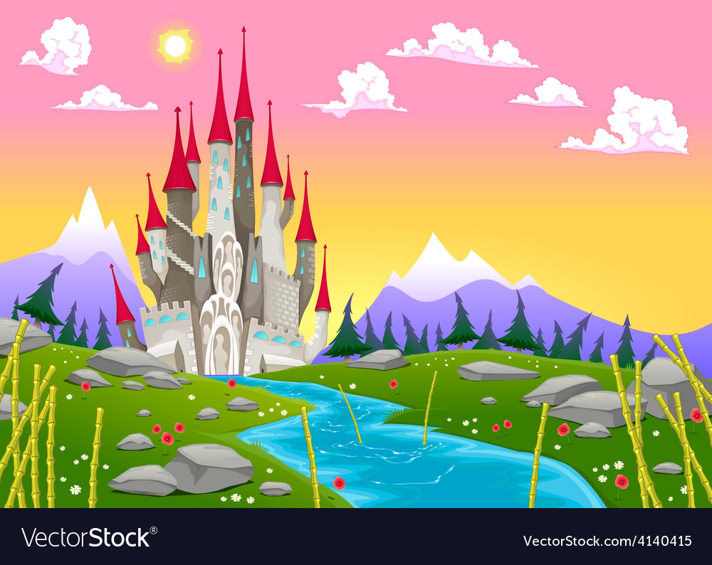 Fantasy mountain landscape with medieval castle vector | Price: 3 Credit (USD $3)