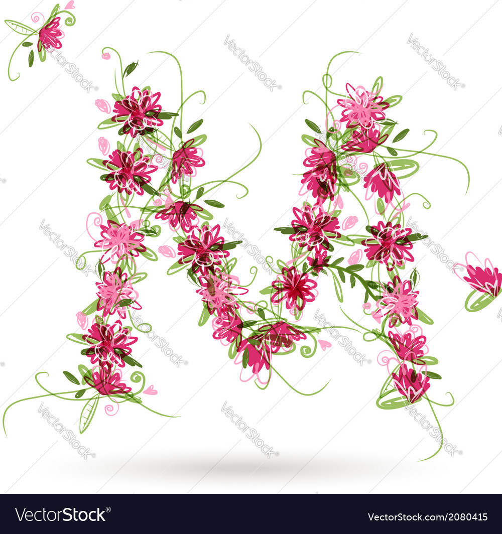 Floral letter m for your design vector | Price: 1 Credit (USD $1)