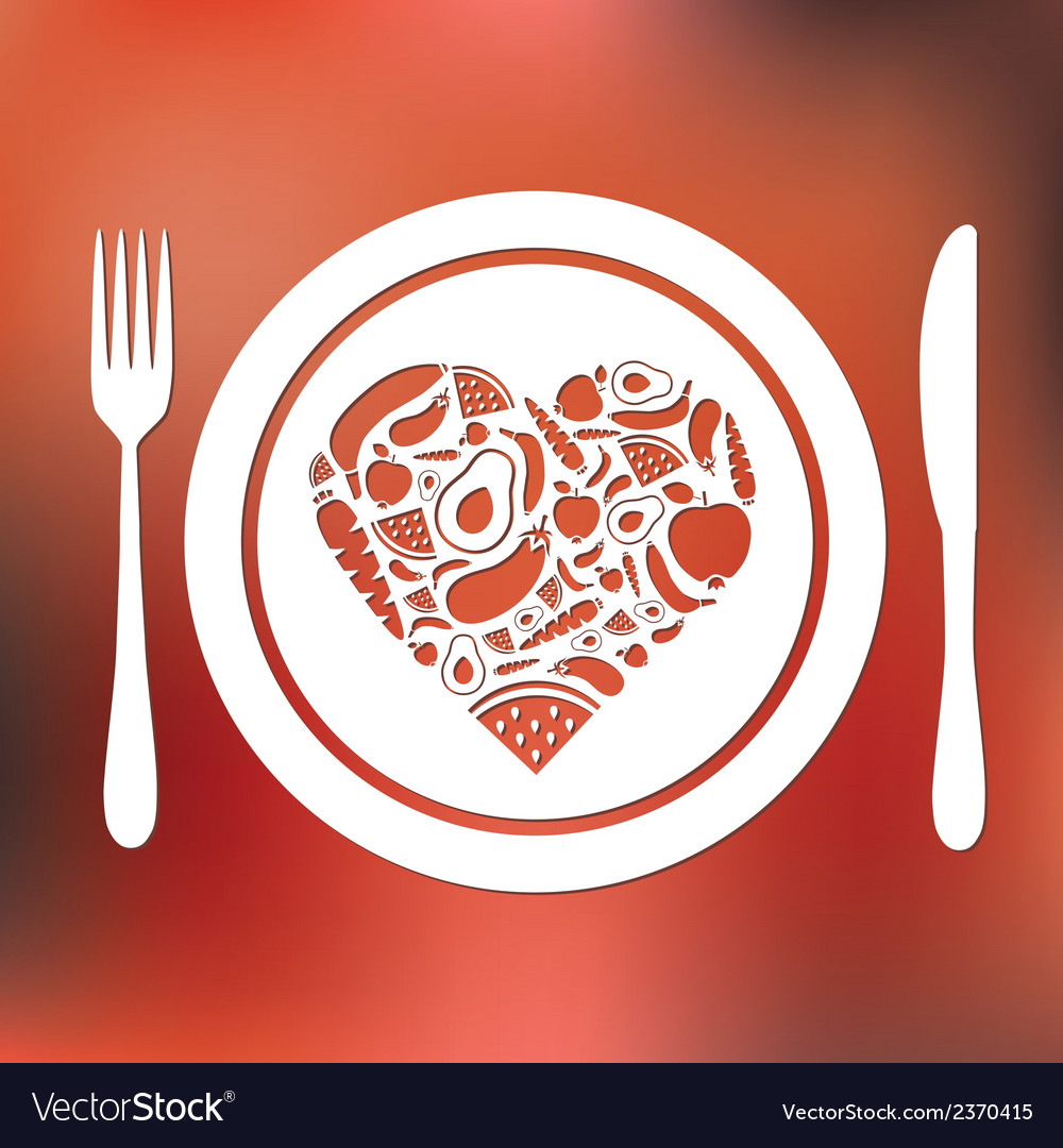 Fruits and vegetables heart in plate vector | Price: 1 Credit (USD $1)