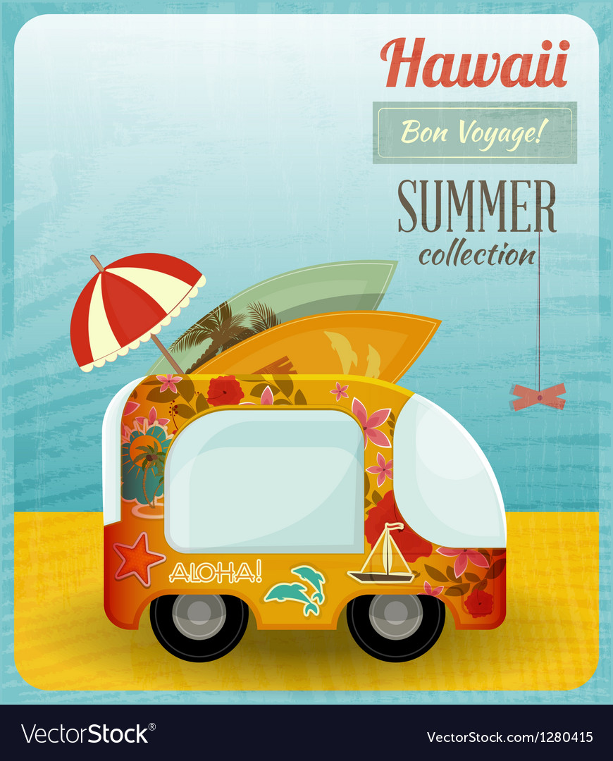 Hawaii card bus vector | Price: 3 Credit (USD $3)