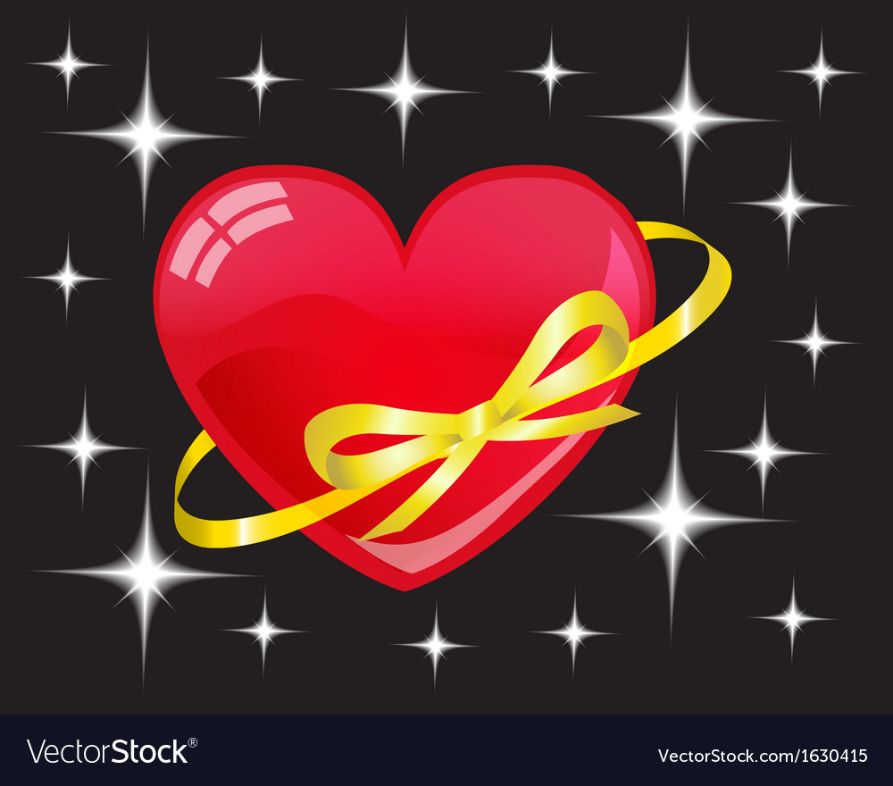 Heart-planet among stars vector | Price: 1 Credit (USD $1)
