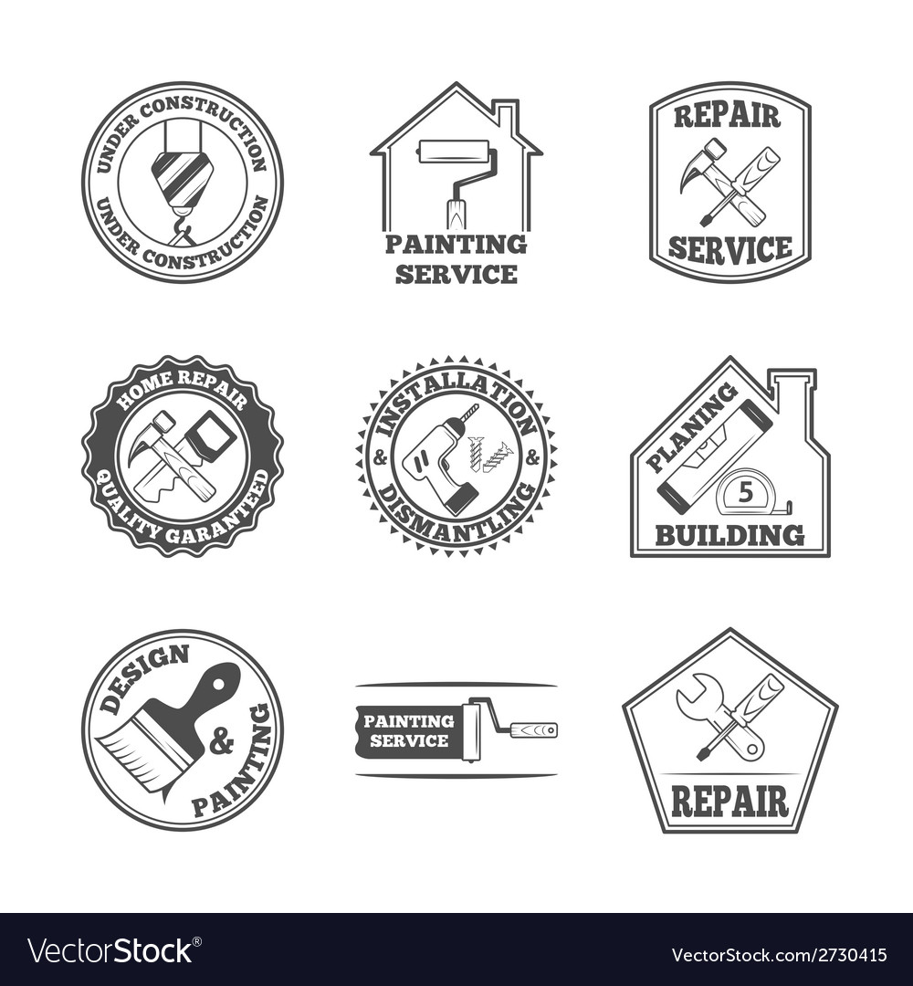 Home repair tools labels icons vector | Price: 1 Credit (USD $1)