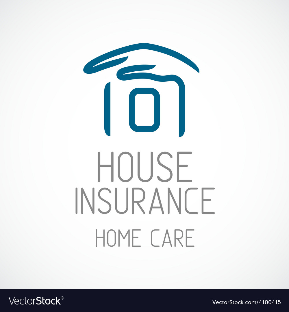 Insurance logo template human hand covering house vector | Price: 1 Credit (USD $1)