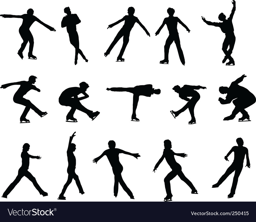 Mans figure skating silhouette set vector | Price: 1 Credit (USD $1)