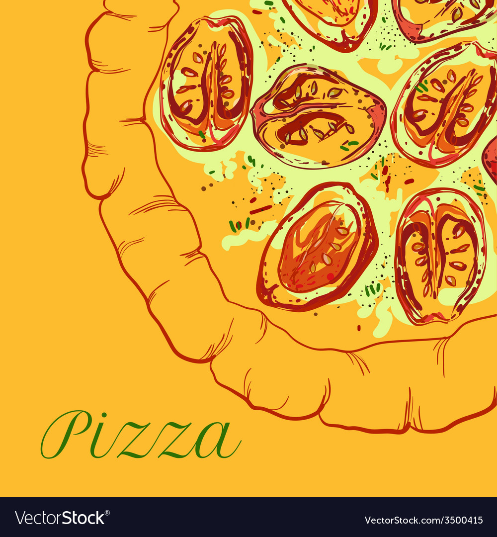 Neapolitan pizza with white cheese tomato and vector | Price: 1 Credit (USD $1)