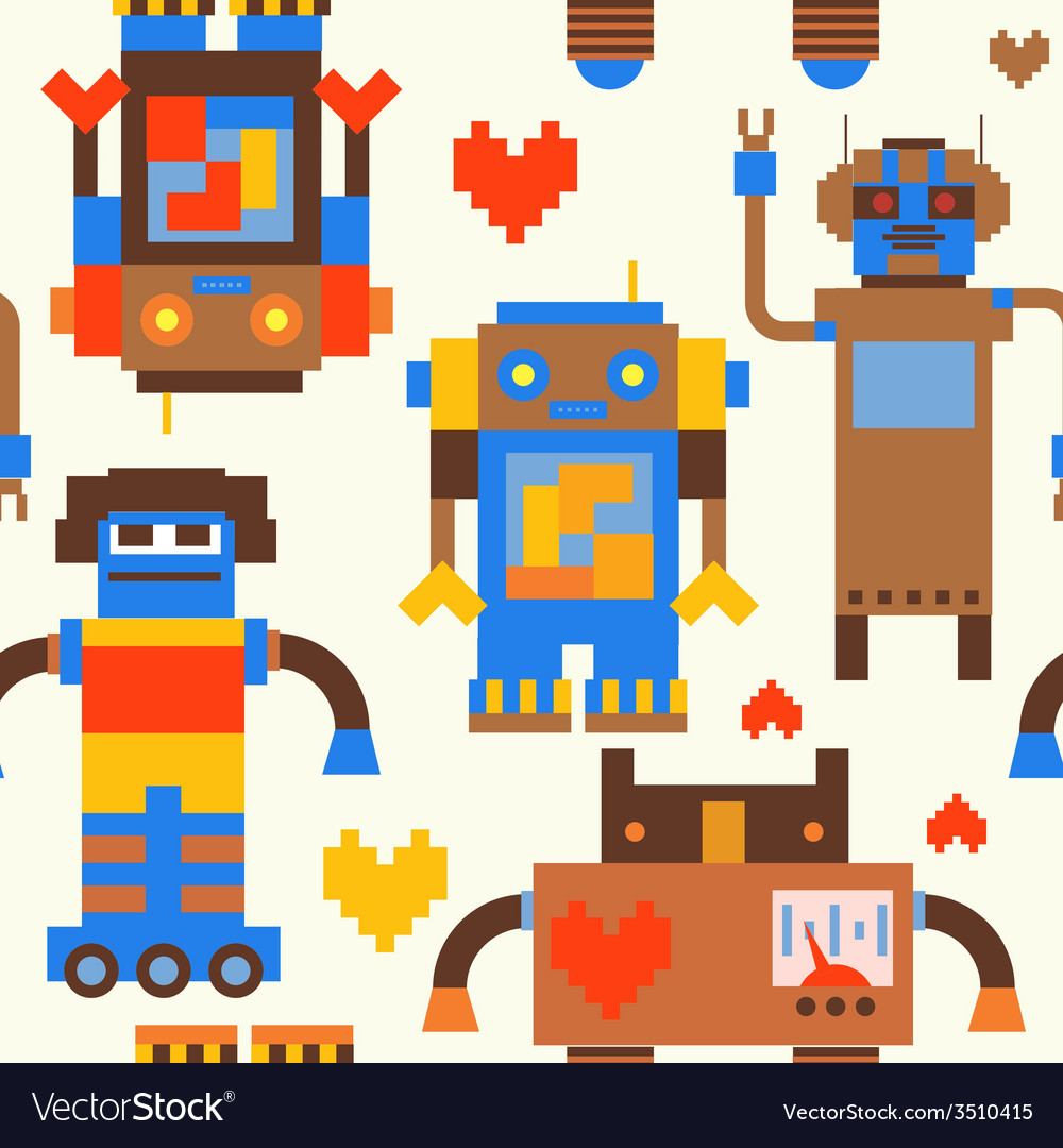 Robots seamless pattern vector | Price: 1 Credit (USD $1)