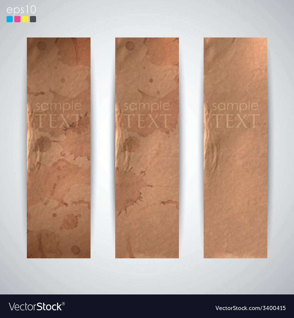 Set of banners with grunge cardboard texture vector | Price: 1 Credit (USD $1)