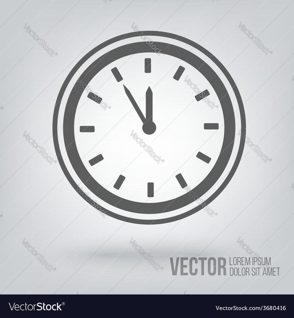 Clock icon isolated black on white background vector | Price: 1 Credit (USD $1)