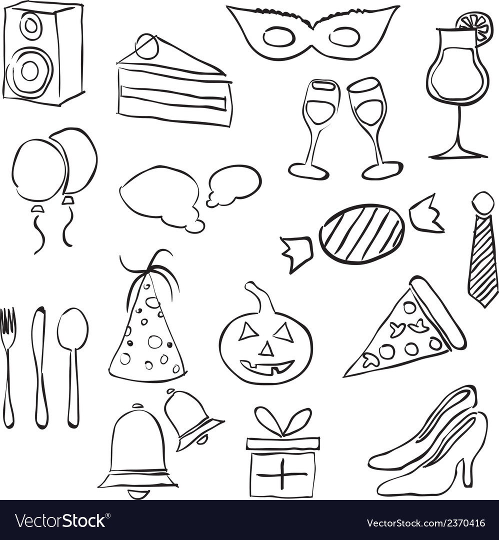 Doodle party images vector | Price: 1 Credit (USD $1)