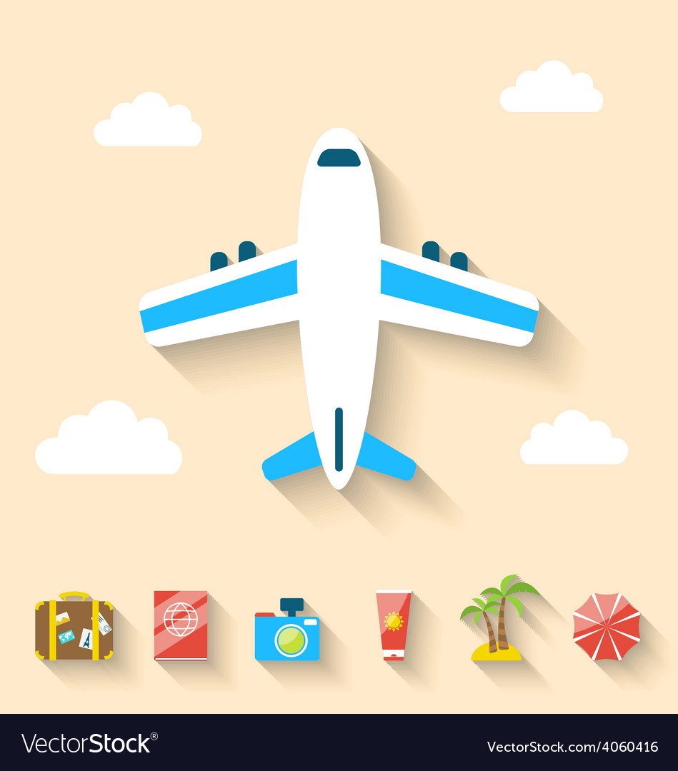 Flat set icons of planning summer vacation minimal vector | Price: 1 Credit (USD $1)