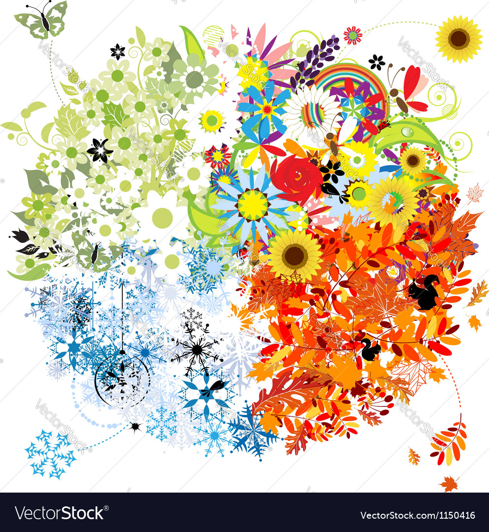 Four seasons - spring summer autumn winter vector | Price: 1 Credit (USD $1)