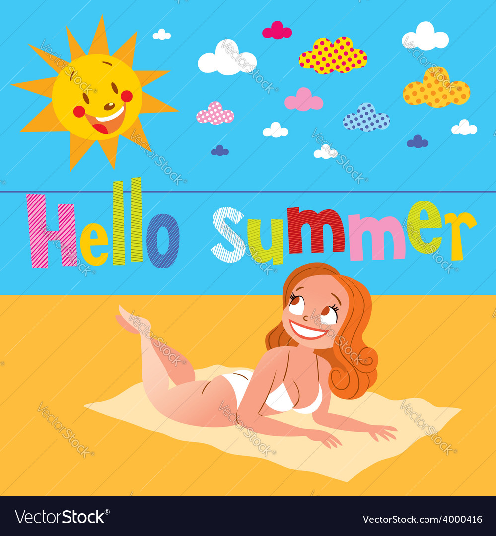 Hello summer pretty girl sunbathing on the beach vector | Price: 1 Credit (USD $1)