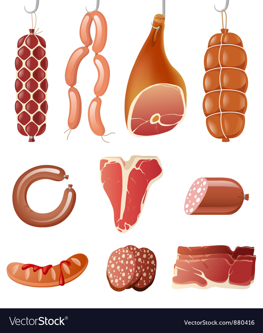 Meat icons vector | Price: 3 Credit (USD $3)
