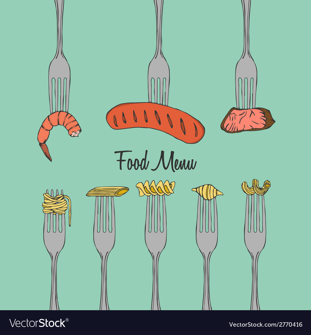 Restaurant menu element on fork vector | Price: 1 Credit (USD $1)