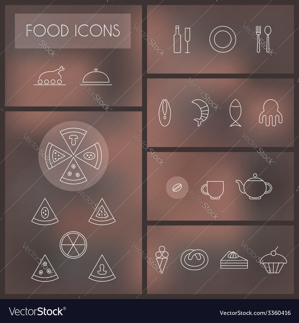 Set of food thin line icons for web and mobile vector   Price: 1 Credit (USD $1)