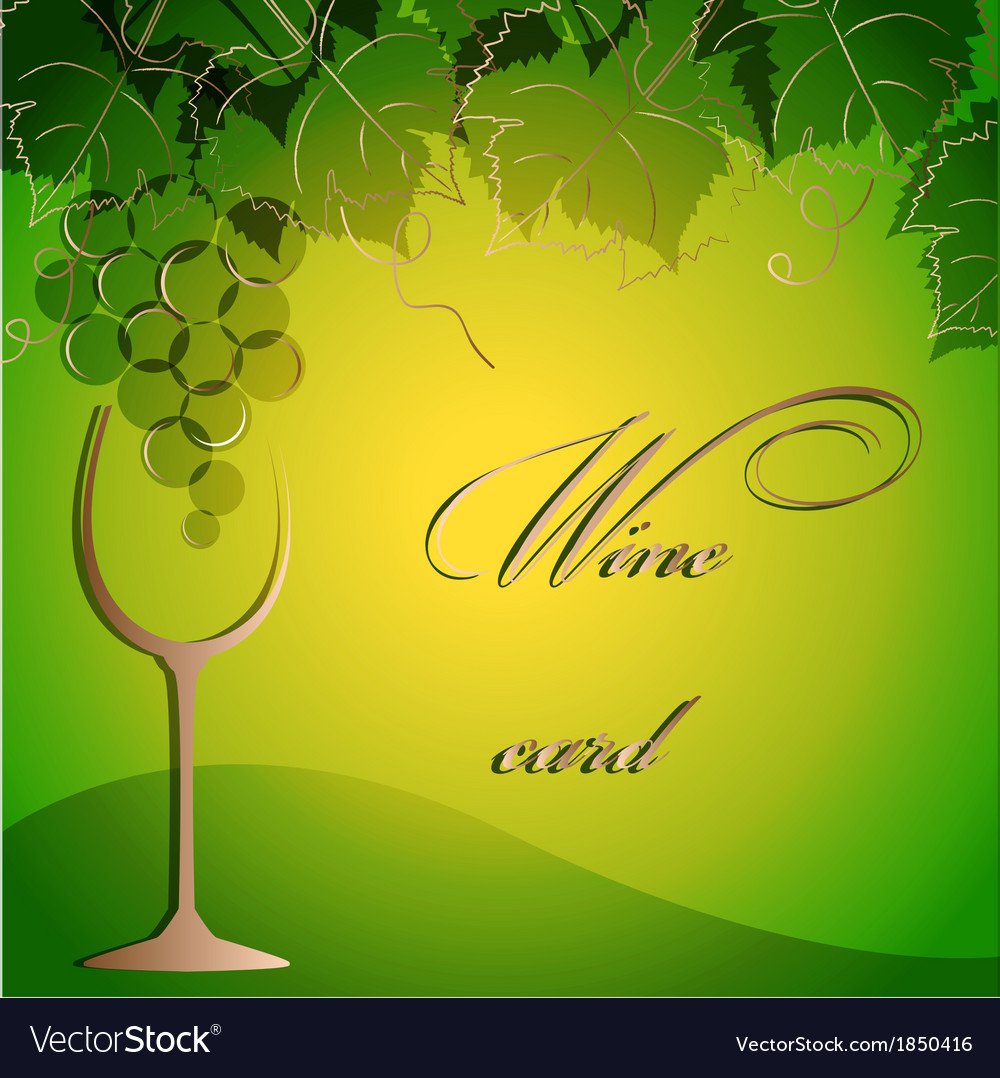 Template of alcohol card with grapes and a glass vector   Price: 1 Credit (USD $1)