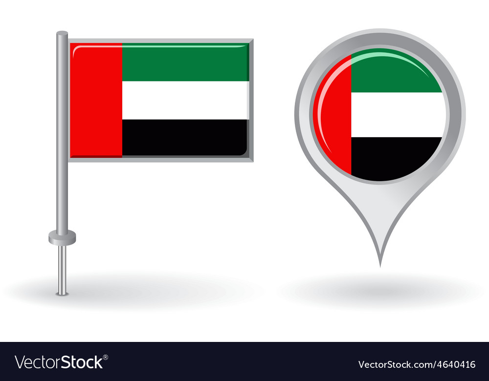 United arab emirates pin icon and map pointer flag vector | Price: 1 Credit (USD $1)