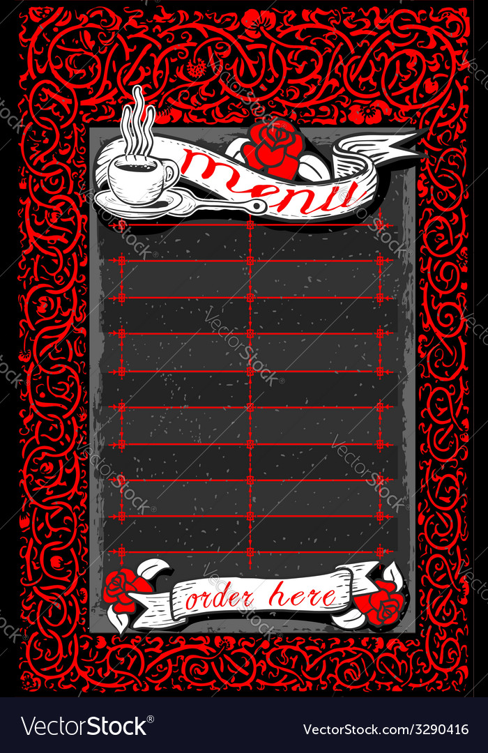 Vintage dark menu with red roses and banners vector | Price: 1 Credit (USD $1)