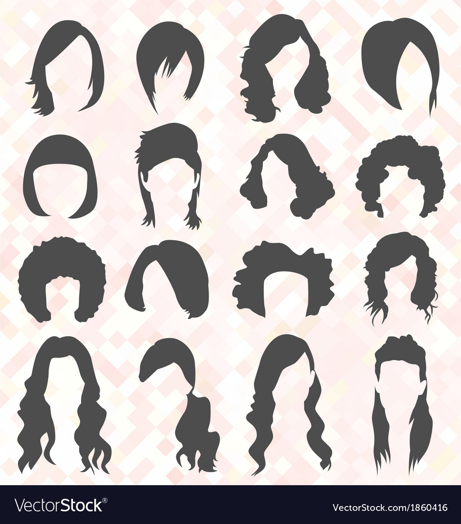 Womans hair style silhouettes vector | Price: 1 Credit (USD $1)