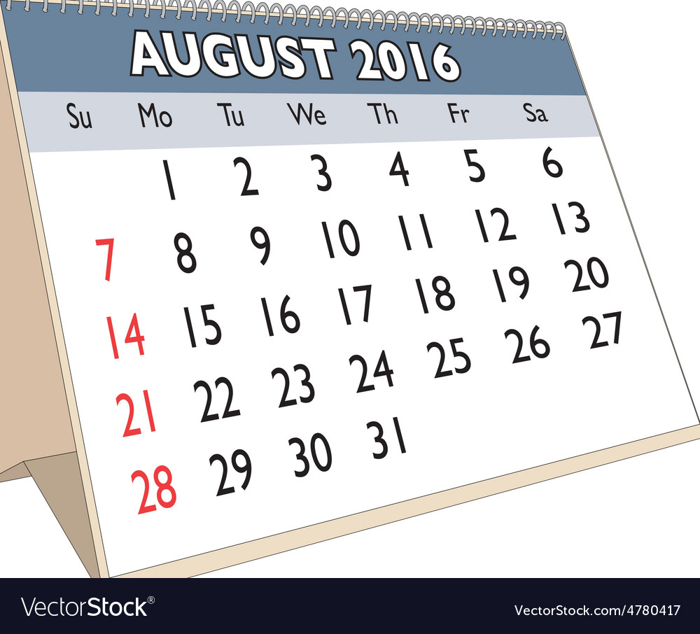 August 2016 vector | Price: 1 Credit (USD $1)